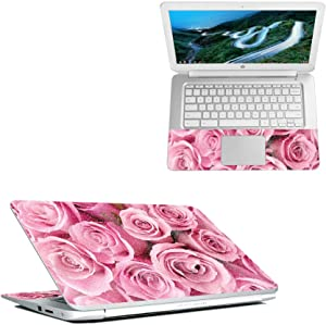"""MightySkins Glossy Glitter Skin for HP Chromebook 14"""" (2018) - Pink Roses   Protective, Durable High-Gloss Glitter Finish   Easy to Apply, Remove, and Change Styles   Made in The USA"""