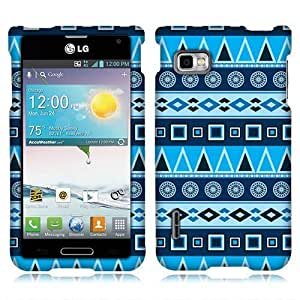 NextKin Premium Hard Plastic Snap On Protector Cover Case For LG Optimus F3 MS659 - Blue Aztec