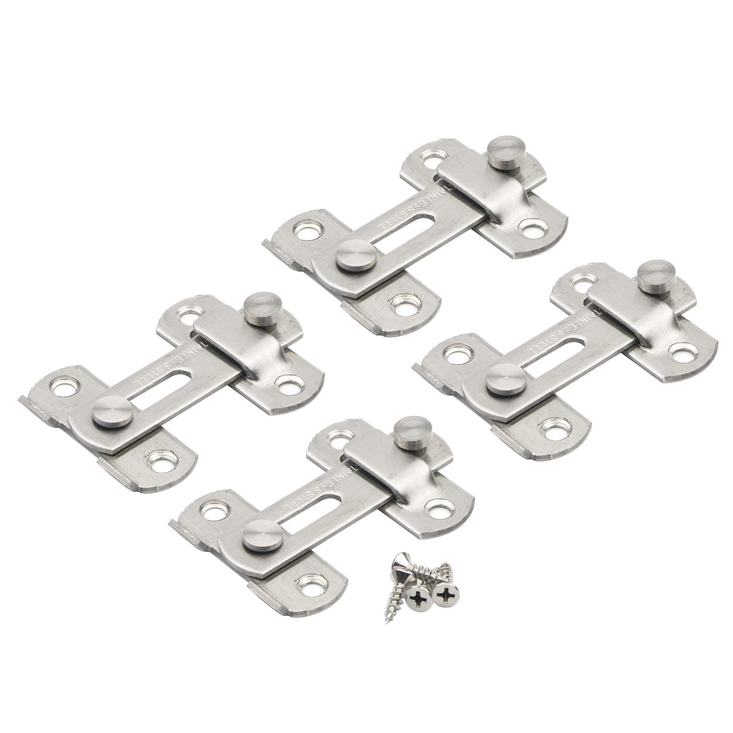 Silver Brushed Finish Heavy Duty Stainless Steel Safety Door Lock Bar Gate Latches Pxyelec 2mm Thickness Flip Door Latch