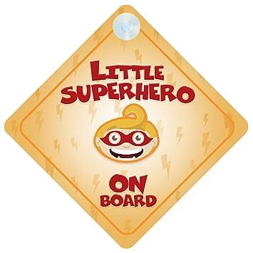 Amazon.com: Little superhéroe a bordo señal de coche nuevo ...