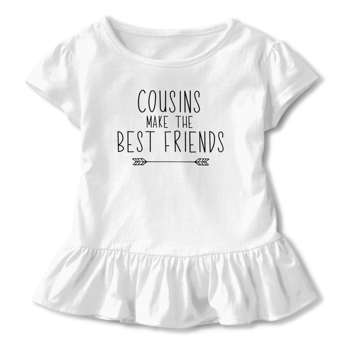 Cousins Make The Best Friends Cotton Toddler Girls' Short Sleeve Ruffle Tshirts For 2-6T Girl Richard Barajasa