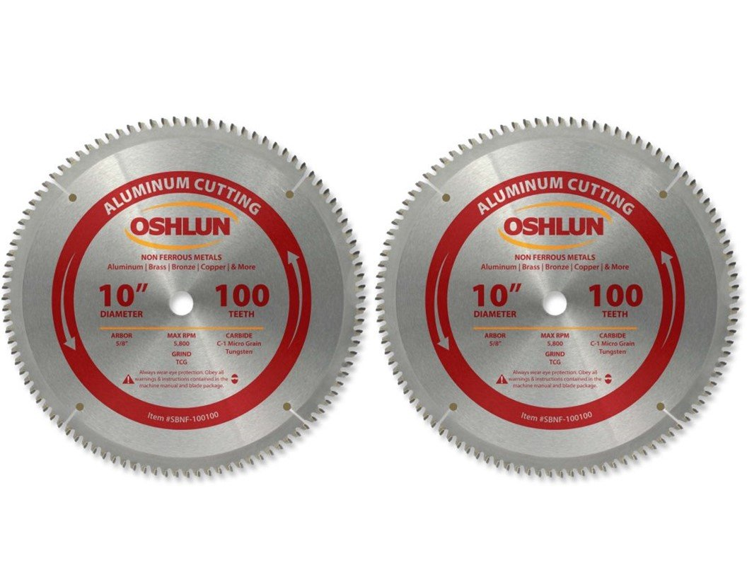 Oshlun SBNF-100100 10-Inch 100 Tooth TCG Saw Blade with 5/8-Inch Arbor for Aluminum and Non Ferrous Metals - 2 Blades (2) (2)