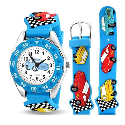 Sports Race Car Driver Waterproof Wrist Watch Time Teacher Quartz 3D Cartoon Blue Silicone Wristband Colorful Round Dial from Bling Jewelry
