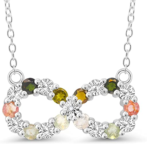 Sterling Silver multi Gemstone /& Diamant Accent Diamant
