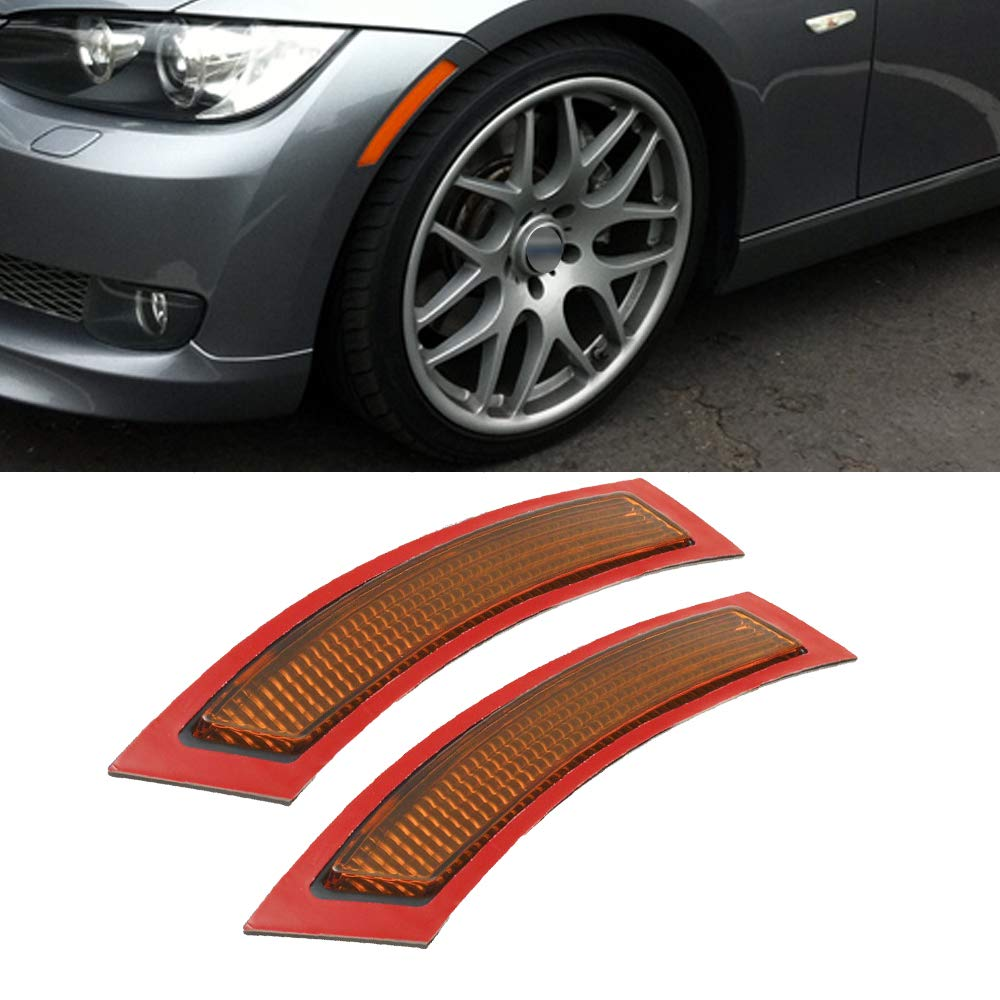 GSRECY 2pcs for BMW E92 E93 3 Series 2DR 2007-2013, Amber Front Side Marke Fender Bumper Reflector by GSRECY