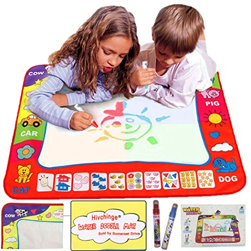 Aqua Doodle Mat 4 Colors Magic Water Drawing Mat Book Board Magic Doodle Kids Educational Toy Gift with 2 Magic Drawing Pens for Boys Girls Toddlers Kids Children 31.5″ x 23.6″