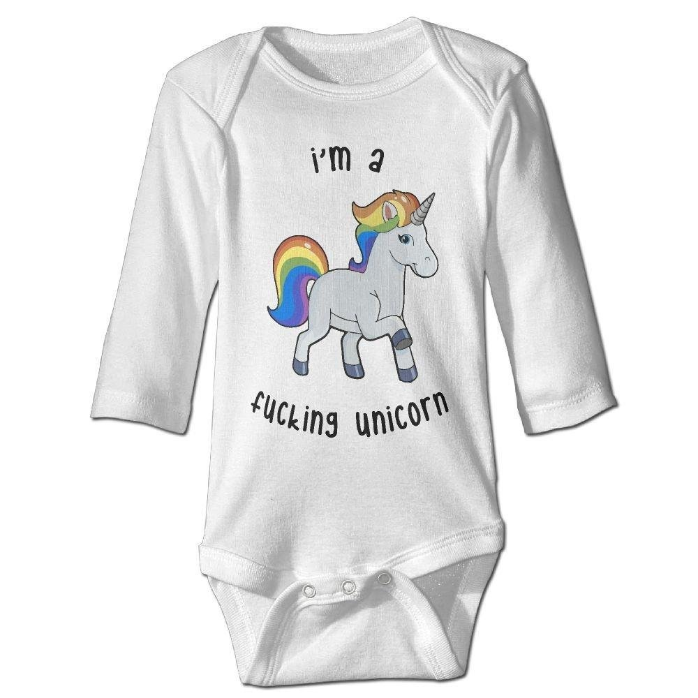 Baby Im A Fucking Unicorn Rainbow Long Sleeve Romper Onesie Bodysuit Jumpsuit