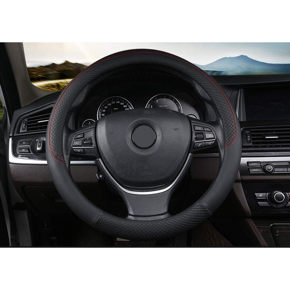 RENNICOCO 1 Pcs Leather Steering Wheel Cover Universal 38cm Breathable Anti-slip Protector