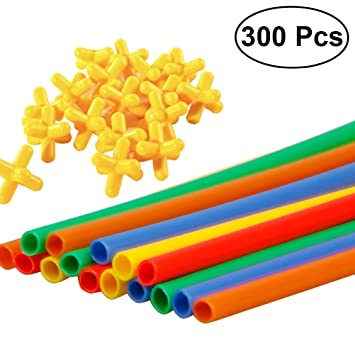 Toymytoy 300pcs Straw Connectors Toy Constructor Interlocking Engineering Toys Kids Educational For Children