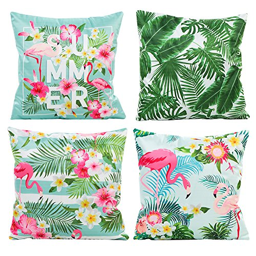 (JOTOM Throw Pillow Cover Case, Soft Silks Satins Decorative Cushion Cover for Couch Sofa Bed, 18 x 18 inches, Set of 4 (Flamingos and Green Leaf))