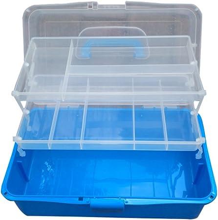 rosenice caja caja almacenamiento multifuncional de plástico con 2 estantes y compartimentos de azul: Amazon.es: Hogar