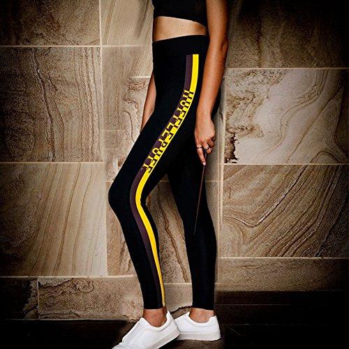 de Pantalon Survtement Taille Jaune pour Aptitude Slim Femme Vtements Jeggings Mode Imprime Sports Haute Pantalon Lettre Yying Casual Pantalons 7wqHUE