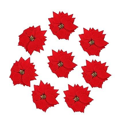 Immagini Di Fiori Natale.Vorcool 50 Pezzi Stella Di Natale Artificiale Teste Di Fiore