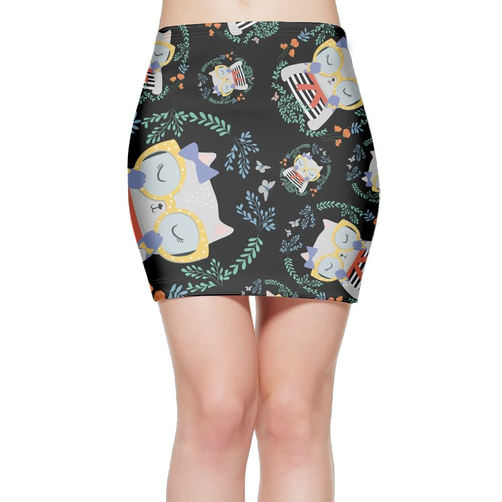 Cr6 Skirts eyeglass Smart Siamese Cat Women Floral Print Short Pencil Skirts Casual Mini Skirts