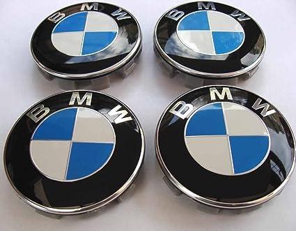 Tapacubos con logo de BMW, color negro, azul y blanco, 4 unidades