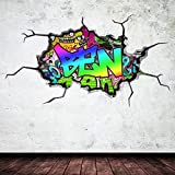 Multi volle farbe personalisiert 3d graffiti name ausgebrochenes wandkunst aufkleber wandsticker - Wandsticker graffiti ...