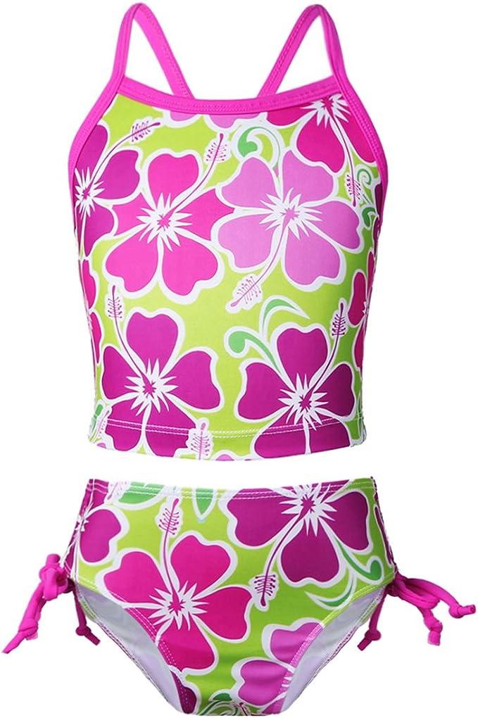 Freebily Costume da Bagno Bambina Due Pezzi Bikini Vita Alta Mare Costume Intero Bimba Piscina con Stampa Fiore Abito da Nuoto Canottiera Sportiva Mutande da Spiaggia