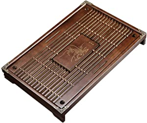 Simple tea tray household Kemu small drawer type wooden tea set tray drainage water storage solid wood tea table