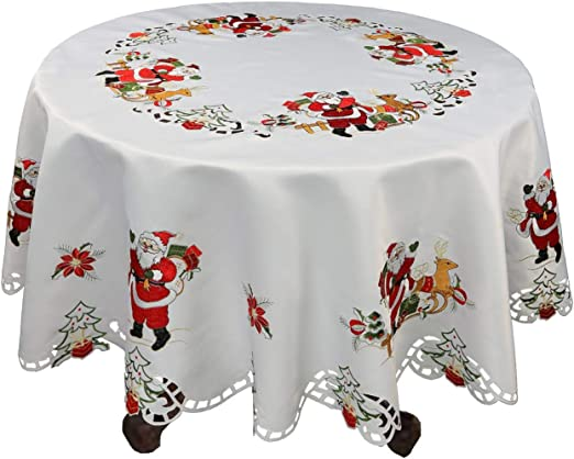 FESTIVE CREAM TABLECLOTHS WITH RED EMBROIDERED FIR TREE CHRISTMAS PARTY