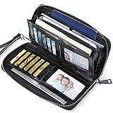 JEEBURYEE Womens RFID Blocking Genuine Leather Zip Around Wallet Large Travel Purse