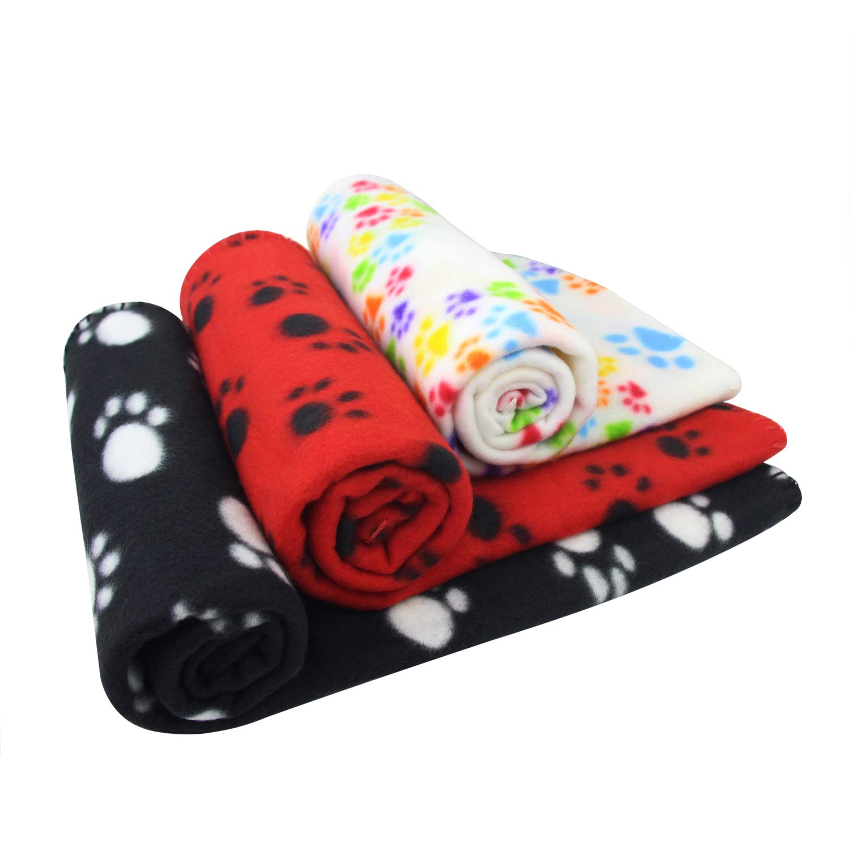 AK KYC 3 Pack Puppy Blanket Cushion Dog Cat Fleece Blankets Pet Sleep Mat Pad Bed Cover Paw Print Kitten Soft Warm Blanket Animals 40in 28in)