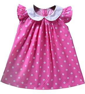 ec6970419166 Babywow Infant Baby Girls Polka Dot Printed Ruffled Sleeves Frock Dress  Toddler Summer Sundress