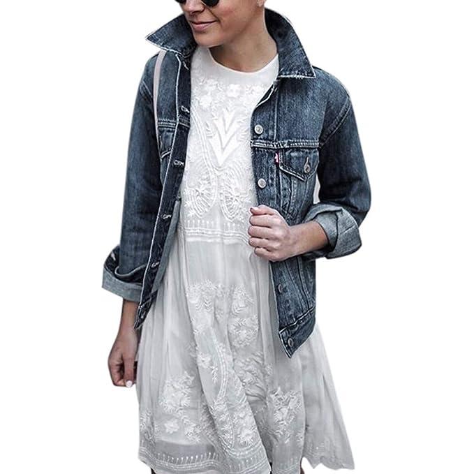 Linlink Mujeres Chaqueta de Mezclilla Corto Abrigos Casuales Outwear Jeans