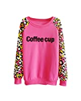 TOOGOO(R) Coreenne Casual Femme Pull Leopard Lache Polaire Chandail Sweat-shirt Col Rond Tops Rose Rouge