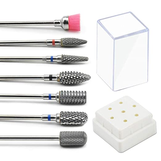 "JEWHITENY Tungsten Carbide Nail Drill Bits Set 7Pcs Remove Acrylic Nail Polish Manicure Machine Accessories Electric Nail Files Nail Tools 3/32"" best manicure milling drill bit"