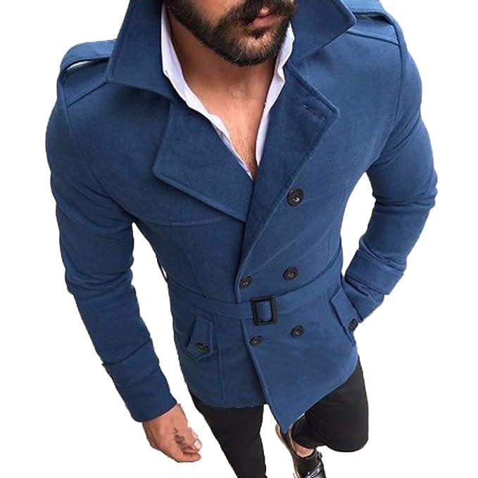 Simple-Fashion Otoño Invierno Hombres Trench Coat Moda Slim Jacket Outerwear Cazadora Blouse Tops Clásico Casual Manga Larga Ropa de Abrigo Chaquetas con ...