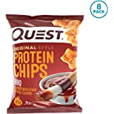 Quest Nutrition Protein Chips, BBQ, 21g Protein, 2g Net Carbs, 130 Cals, Low Carb, Gluten Free, Soy Free, Potato Free, Baked, 1.2oz Bag, 8 Count, Packaging May Vary