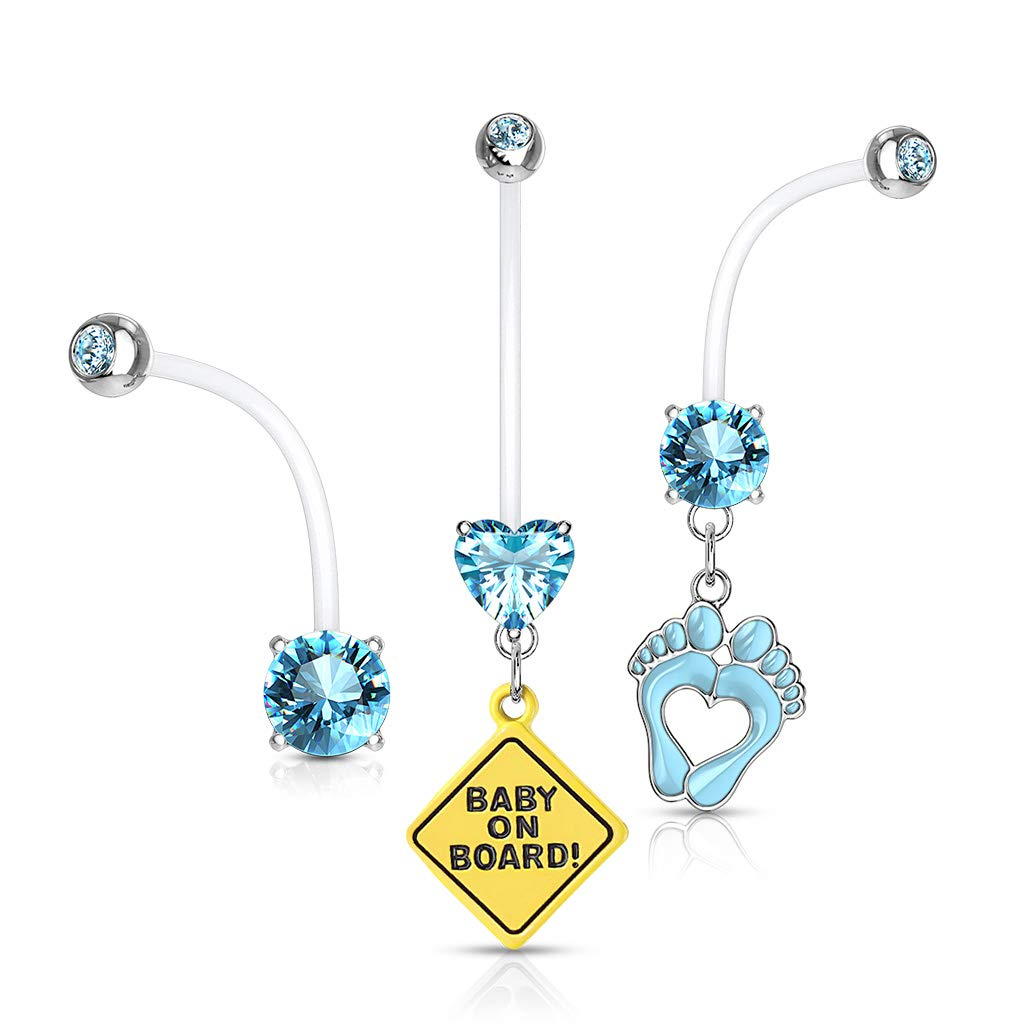 Pierced Owl Set of 3 Double Jeweled Pregnancy Maternity Belly Button Ring Retainers (Aqua) by Pierced Owl
