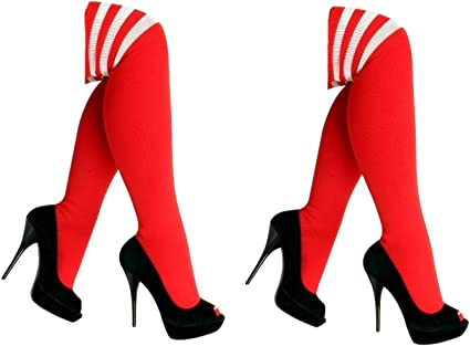 Femmes Filles Rouge /& Blanc Noir//Blanc Rayé Rayures Bas Taille Unique