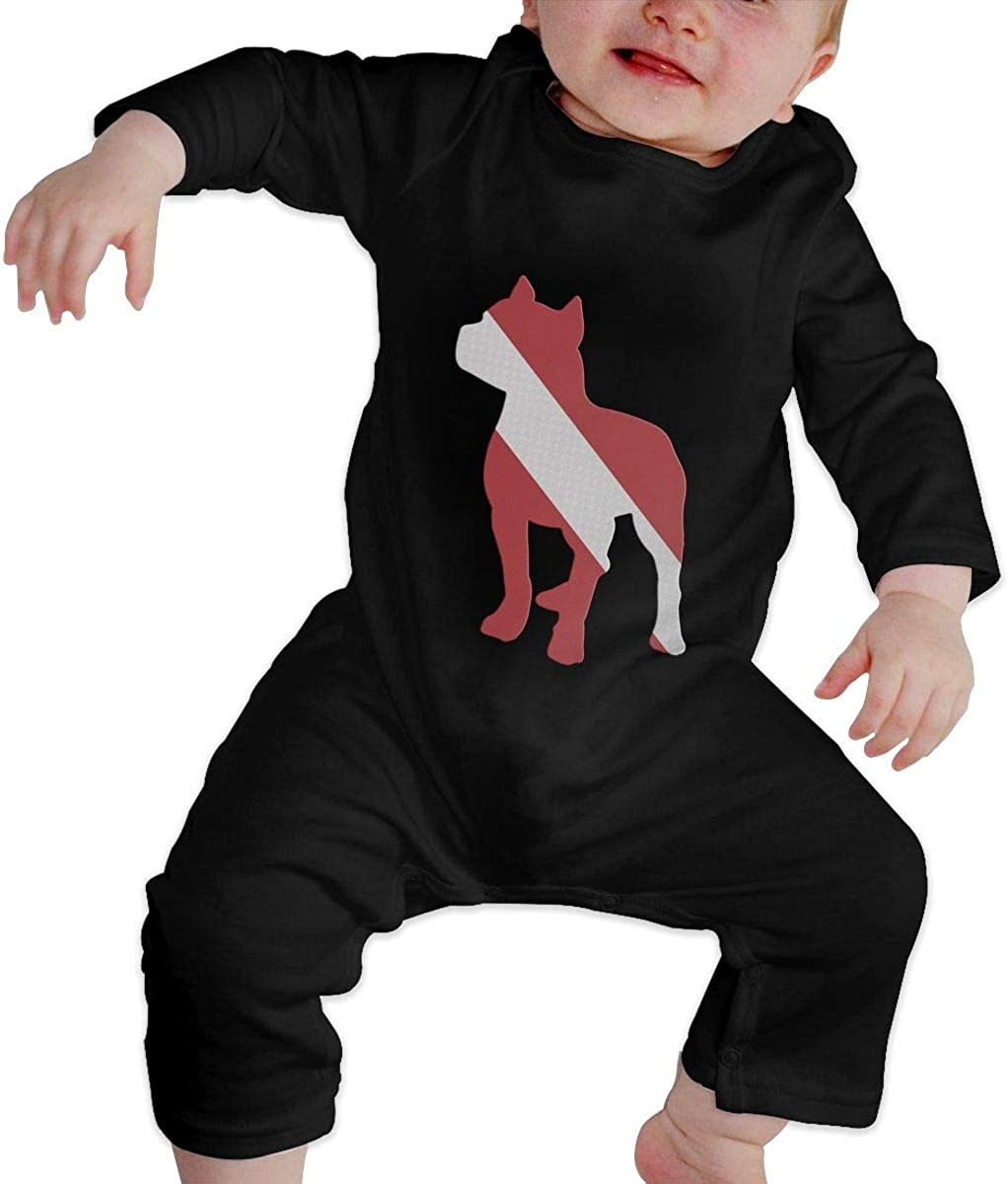 YELTY6F Patriotic Pitbull Dive Flag Printed Boys Girls Jumpsuit Long Sleeve Outfits Black