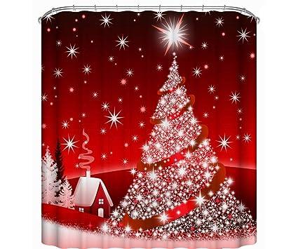 Ediand Cortina de Ducha, árbol de Navidad Rojo | Tela de poliéster | Impermeable,