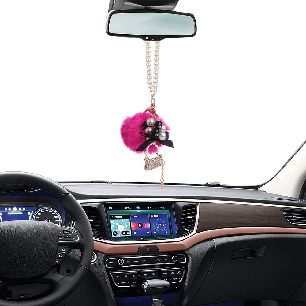 Crystal Diamond Hangbag//Rose//Fairy//Unicorn//Luxury Pearl Star Rearview Mirror Hanging Bling Charm Girly Decoration for Car//Home//Office Rose MINI-FACTORY Car Interior Hanging Ornament