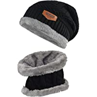 Lover Kids Winter Warm Hat and Scarf Knitted Hat with Soft Fleece Lined  Beanie 5d58670a498f