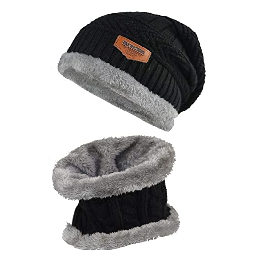 573aa5d3322 Kids Winter Warm Hat Scarf Knitted Hat with Soft Fleece Lined Beanie Cap.YR.
