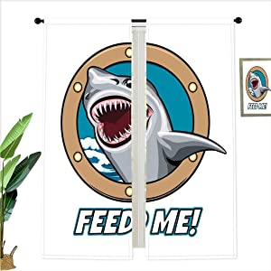 SfeatrutMAT Window Drapes SoSung Funny Vintage Quote with Hungry Hound Shark in Ship Window Humor Print Decor Light Blocking Curtains for Living Room,W52 x L63