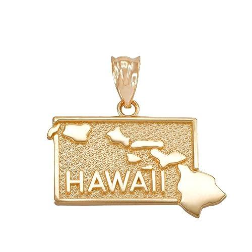 14K White Gold Polished I Heart Hawaii State Charm Pendant