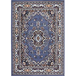 "Home Dynamix Premium Sakarya Area Rug Traditional Persian-Inspired Carpet | Stylish Medallion Print and Classic Boarder Design | Blue, Navy, Cream, Brown 3'7"" x 5'2"""