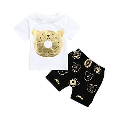 905c7fe90ef Moonker 2Pcs Infant Baby Boy Summer Outfit Cute Cartoon Bear Printed T-Shirt  Tees and