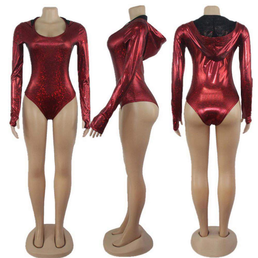 Women Rave Hooded Bodysuit Romper Hologram Metallic Swimsuit Festival Costume Long Sleeve for Dance Party Clubwear