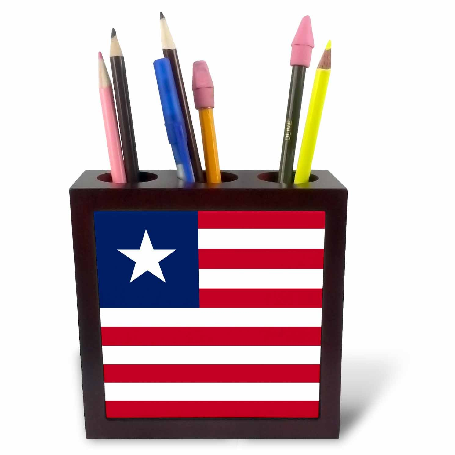 3dRose ph_158356_1 Flag of Liberia West Africa African Country Red and White Stripes Navy Blue Liberian Star Tile Pen Holder, 5-Inch