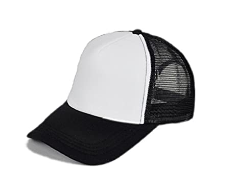 Michelangelo BLACK WHITE Mesh HALF FABRIC Baseball Cap Trucker Hat Half net  Plain Curved Visor Hat b78d3170b3f