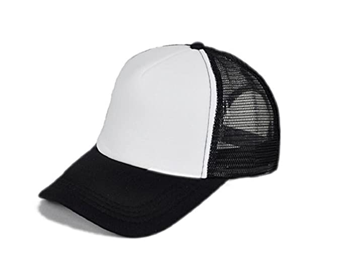 Michelangelo BLACK WHITE Mesh HALF FABRIC Baseball Cap Trucker Hat Half net  Plain Curved Visor Hat 98a1c16fa50f