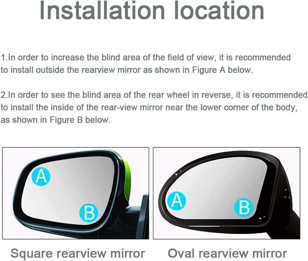 2PCS Fan Shape Blind Spot Mirror fits for cars trucks SUVs HD Glass Wide Angle Round Mirror Frameless Adjustable Designed for greater image and traffic safety Blind Spot mirror 2 in