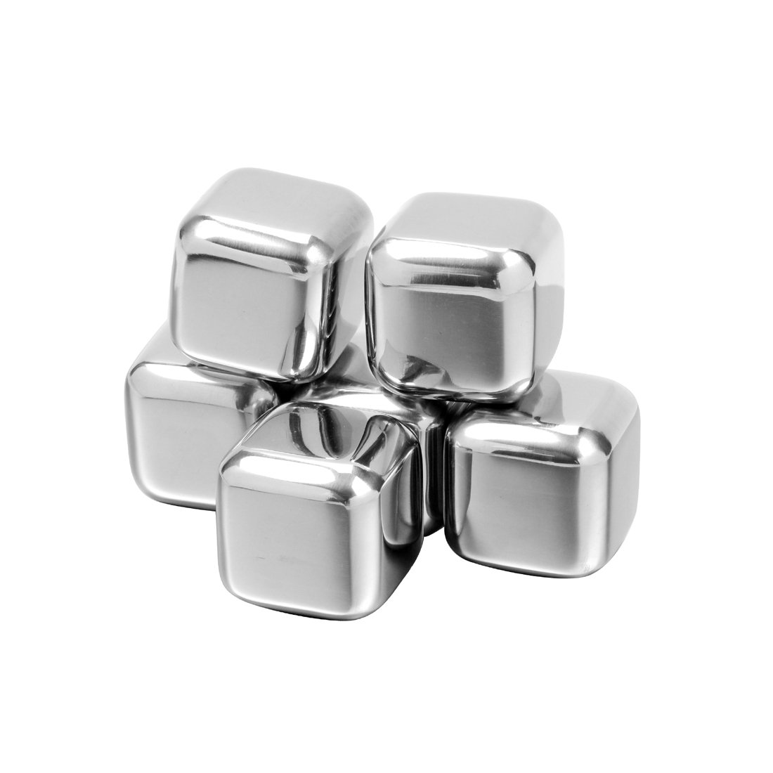 Haomacro Stainless Steel Whiskey Stones, Chilling Reusable Ice Cubes for Whiskey, Beer, Beverage and Red Wine, Pack of 6