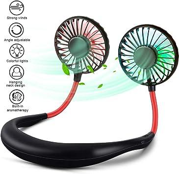 swonuk Ventilador cuellobatería Mini USB, batería Recargable Personal Rotación de 360 °, LED Que Cambia de Color, con Flujo de Aire Fuerte de bajo Ruido para Deportes, hogar, Aire Libre, etc. (LED):