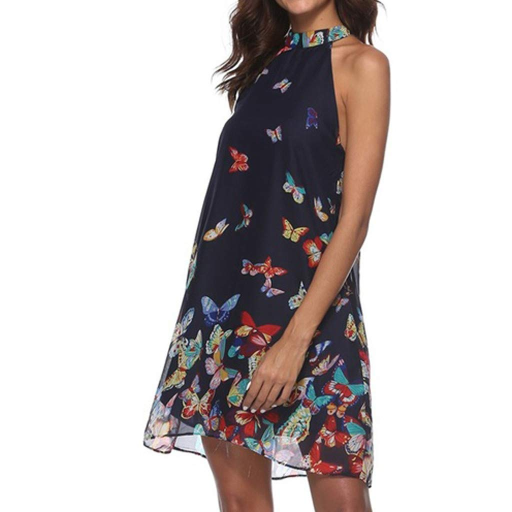 Navy, XXL Onefa Womens Casual O-Neck Sleeveless Backless Dress Fashion Butterfly Print A-Line Dress